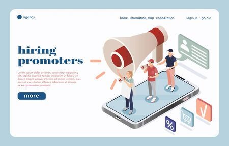 Hiring agency isometric landing page with big  loudspeaker icon and group of street promoters speaking into megaphones vector illustration Ilustracja