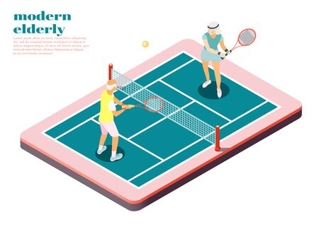 Modern elderly people isometric composition with male and female persons playing tennis on court vector illustration