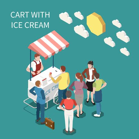 Ice cream cart isometric background with seller and buyers standing near street cart with sweet frozen food vector illustration