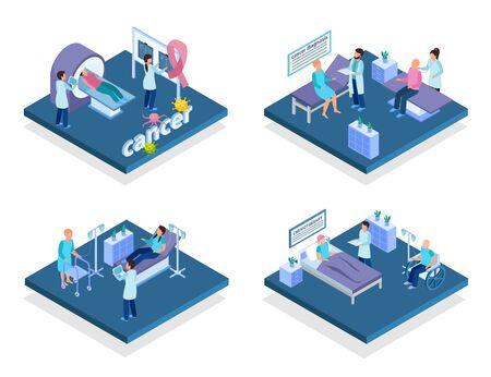 Concepto de tratamiento de diagnóstico de detección de control de cáncer 4 composiciones isométricas con infusión de quimioterapia de exploración de resonancia magnética aislada ilustración vectorial