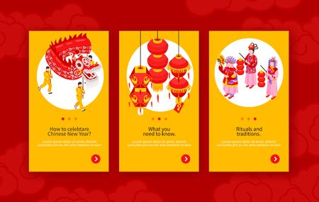 Chinese new year vertical banners with information about rituals decorated by holiday attributes isometric vector illustration Foto de archivo - 129906728