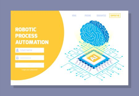 Robotic process automation isometric web site login page with clickable links images of processor and brain vector illustration Stock Illustratie
