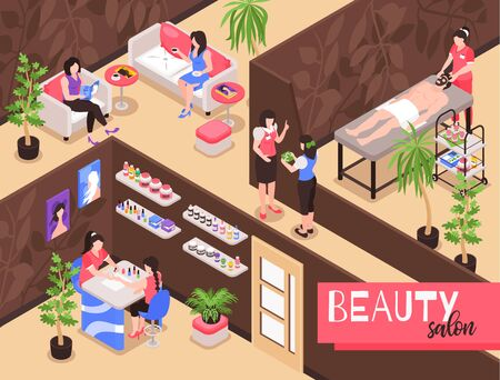 Isometric beauty salon background composition with indoor view of spa studio with people during therapy procedures vector illustration