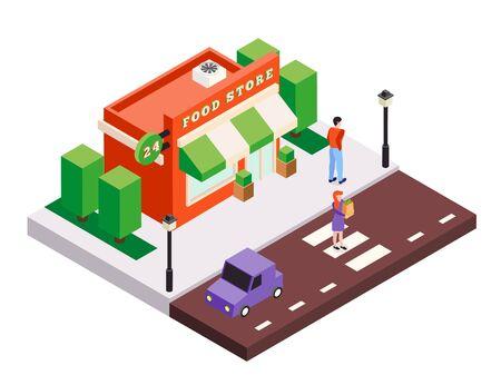 Isometrische Stadtgebäude-Hintergrundzusammensetzung mit kleinen Lebensmittelgeschäftshausquadratbäumen Autos und menschlicher Charaktervektorillustration Vektorgrafik