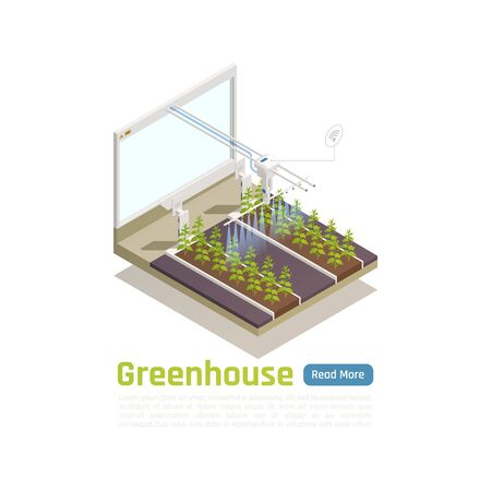 Modern greenhouse automated watering system isometric composition with remote wifi controlled smart planten beds irrigation vector illustration Foto de archivo - 129906777