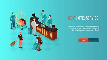Isometric hotel horizontal banner with images of vintage reception desk with human characters text and button vector illustration