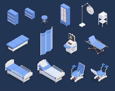 Isometric set of various medical equipment icons with hospital bed gynecological examination chair ultrasonography apparatus isolated on blue background 3d vector illustration Illusztráció