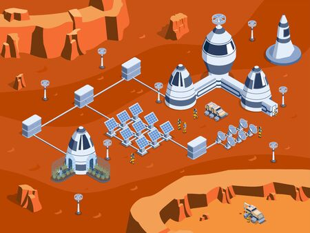 Colored isometric mars colonization illustration with science equipment robots rovers and cosmonauts vector illustration Illustration
