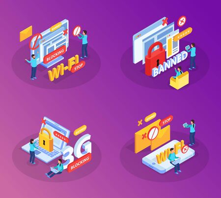 Blocking internet websites users devices from wifi network concept 4 isometric compositions with lock symbols vector illustration