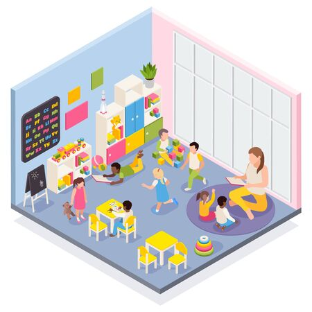 Kindergarten isometric composition with indoor view of room with playing kids and nursery teacher human characters vector illustration