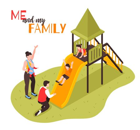 Family on playground isometric composition with parents watching as children rolling down the slide vector illustration Foto de archivo - 129906784