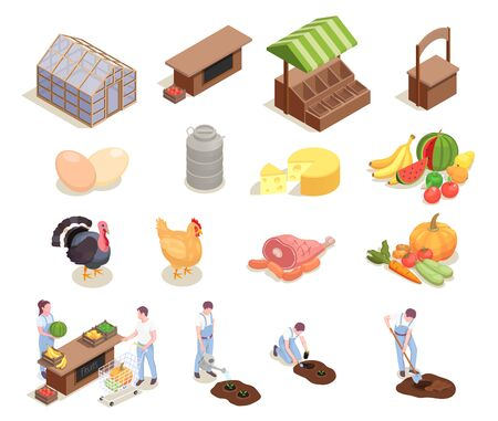 Set with isolated local farm market isometric icons human characters of farmers poultry and food products vector illustration Archivio Fotografico - 129906788