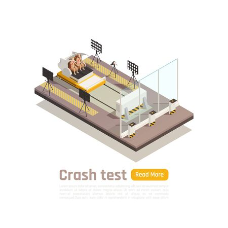 Crash test car safety isometric composition with view of testing fixture unit and dummies with text vector illustration Illustration
