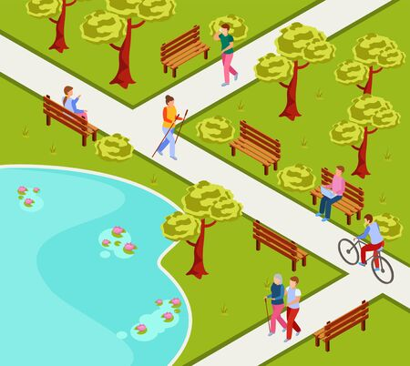 City park isometric composition with people nordic walking cycling reading working on laptop on bench vector illustration Ilustração