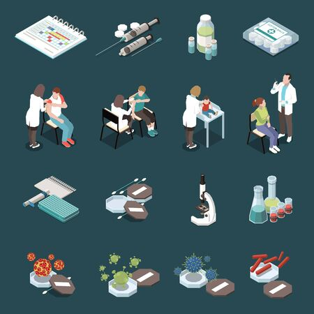 Vaccination isometric icons set of bio materials  primary source of viral diseases  ampoules with vaccine medical equipment isolated vector illustration