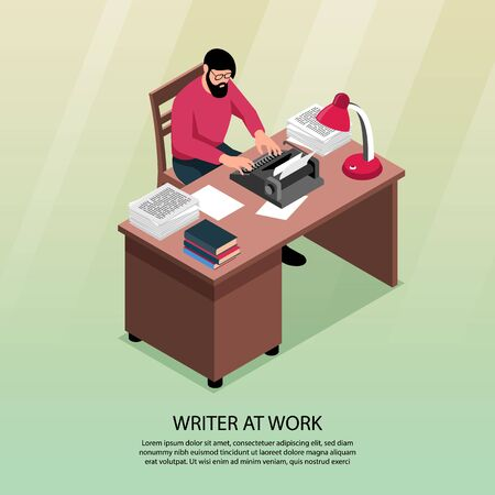 Writer at work isometric composition with traditional workplace attributes desk typewriter books paper piles poster vector illustration