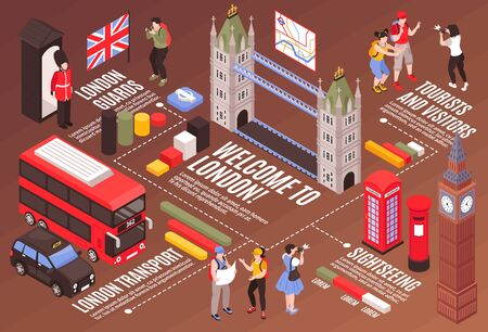 Welcome to london infographics background with city guards transport tourists and sightseeing isometric vector illustration 일러스트