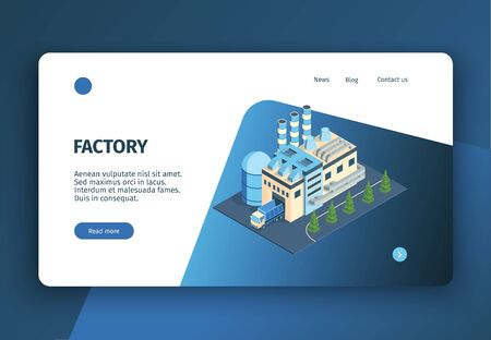 Isometric industrial plant factory concept banner website landing page with editable text clickable links and buttons vector illustration 写真素材 - 130020822