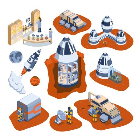 Isometric mars colonization icon set with astronaut on mars moonwalker rockets and other space elements vector illustration 写真素材 - 130020821