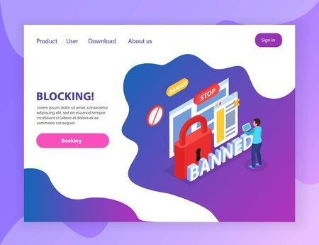 Internet website blocking abusive users  isometric landing page with banned stop lock prohibition signs symbols vector illustration 写真素材 - 130020830