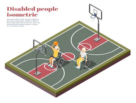 Disabled people isometric composition with two invalids in wheelchair playing basketball on playground vector illustration