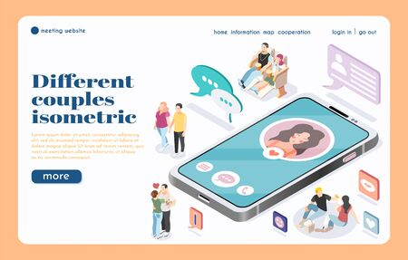 Meeting website landing page with big smartphone isometric icon and different couples communicating by network vector illustration 写真素材 - 130020826