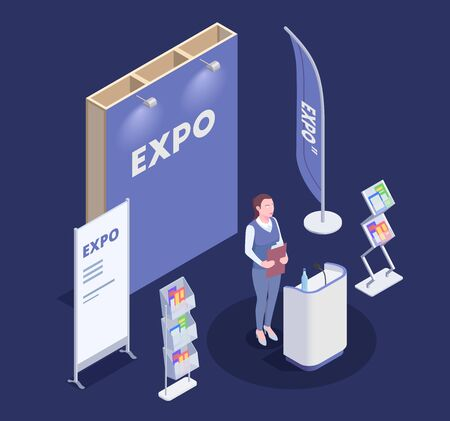 Woman promoting goods near expo stand isometric composition on blue background 3d vector illustration Illustration