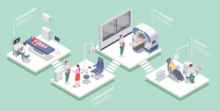 Medical equipment set of isometric platforms with medical apparatus people and editable text captions with shadows vector illustration Vectores