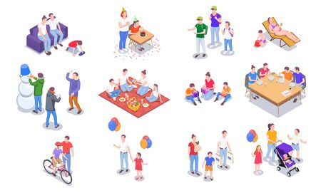 Set with family holidays isometric icons of people and leisure activities of family members with shadows vector illustration