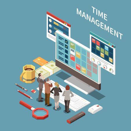 Time management concept with planning time symbols isometric vector illustration Stock Illustratie