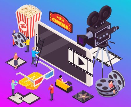 Isometric cinema composition with small characters of people and images of essential movie making watching items vector illustration