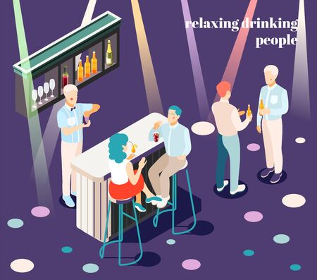 Relaxing and drinking people in bar isometric background with catering symbols vector illustration