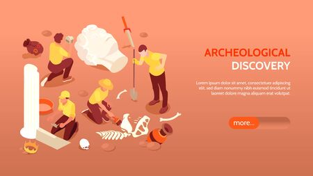 Archeological discovery horizontal banner with archaeologists engaged in excavations and paleontological cultural ancient finds isometric vector illustration
