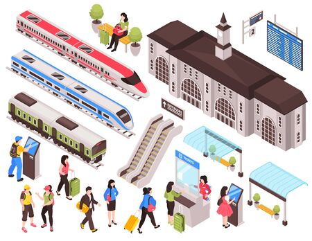 Isometric railway station train set of isolated images with human characters train cars and infrastructure elements vector illustration