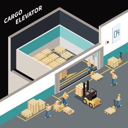 Composición isométrica con trabajadores cargando carga en gran ascensor ilustración vectorial 3d Ilustración de vector