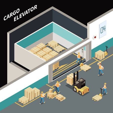Isometric composition with workers loading cargo into big elevator 3d vector illustration