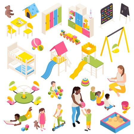 Kindergarten isometric set of isolated characters of kids and toys with play equipment furniture and blackboards vector illustration