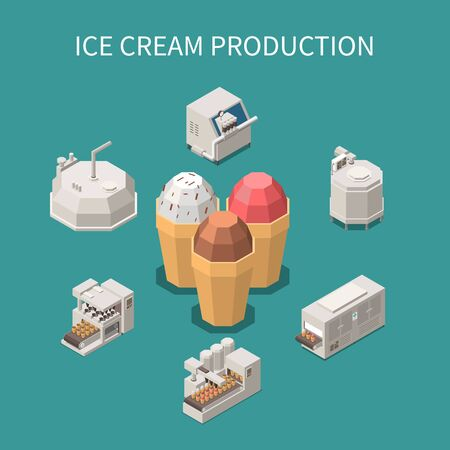 Ice cream production isometric background with three waffle cones filled with different varieties of ice cream vector illustration Ilustração