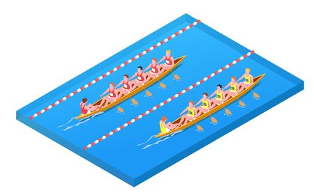 Water sports isometric composition with two teams participate in competitions on canoe vector Illustration Illustration