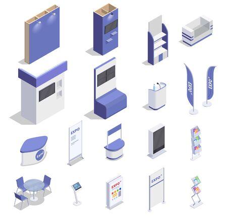 Zestaw izometrycznych pustych stoisk wystawienniczych liczników ekranowych półek na towary reklamowe na białym tle ilustracji wektorowych 3d