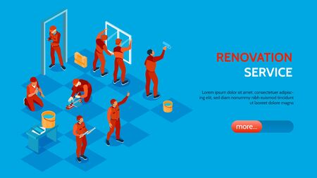 Home repair service isometric horizontal banner with workers installing windows and doors painting laying floor 3d vector illustration