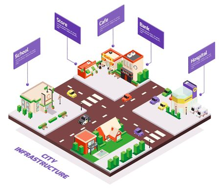 Isometric city buildings composition with infographics editable text boxes with arrows pointing to different houses blocks vector illustration