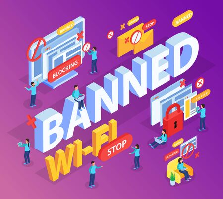 Banned 3d lettering with stop and lock signs in blocking internet users sites isometric composition vector illustration Illustration