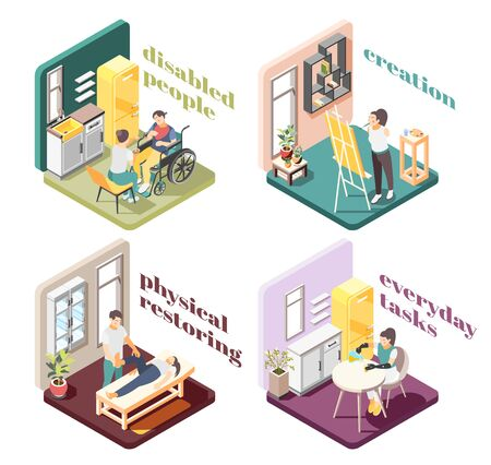 Disabled people 2x2 design concept with physical restoring creation everyday tasks isometric compositions vector illustration
