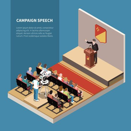 Campaign speech isometric background with political candidate on scene tv operator and electorate in hall vector illustration