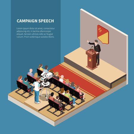 Isometrischer Hintergrund der Kampagnensprache mit politischem Kandidaten vor Ort, TV-Betreiber und Wähler in der Hallenvektorillustration