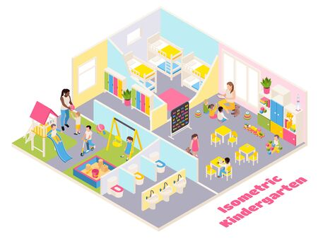 Kindergarten isometric composition with text and indoor view of different rooms with furniture toys and kids vector illustration Stock Illustratie