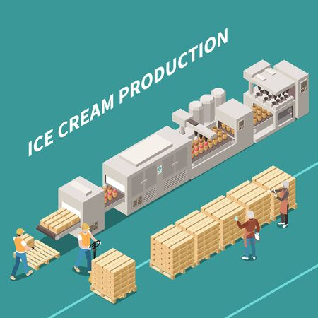 Ice cream manufacture background with people working on automatic line producing frozen dessert isometric vector illustration