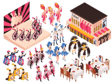 Cabaret isometric set with night restaurant building and different fragments of cancan show for adults isolated vector illustration 일러스트