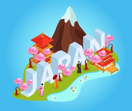Japan title tourist booklet guide isometric composition with fuji mountain traditional clothing temple big lettering vector illustration